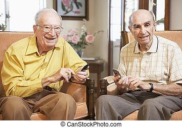 texte, personne âgée hommes, messagerie