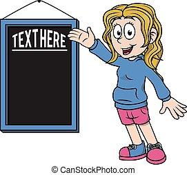 texte, projection, signe, noir, planche, girl