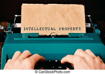 texte, propriété, intellectuel, tapé machine