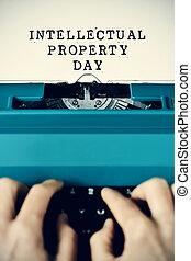 texte, propriété intellectuelle, jour, tapé machine