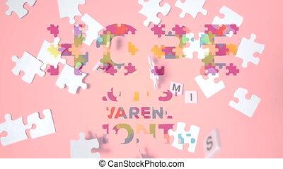 texte, puzzle, mois, espoir, conscience, sur, puzzle, autism