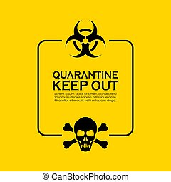 texte, quarantaine, biohazard, information, prudence, boîte
