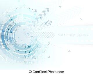 texte, résumé, flèches, raie, fond, technologique, cercle