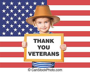 texte, remercier, veterans., vous