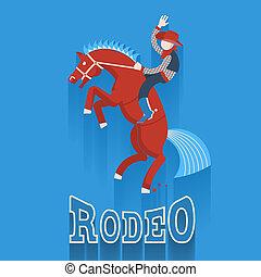 texte, rodéo, cheval, poster., cow-boy