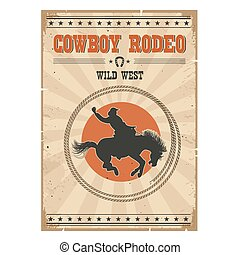 texte, rodéo, illustration, cheval, poster., cow-boy, vendange, occidental