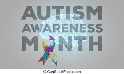 texte, rotation, mois, autism, conscience, sur, cerveau, ...