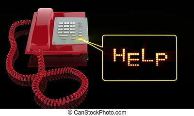 texte, rouges, aide, téléphone cas urgent