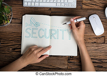 texte, sécurité, cahier, main humaine