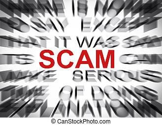 texte, scam, foyer, blured
