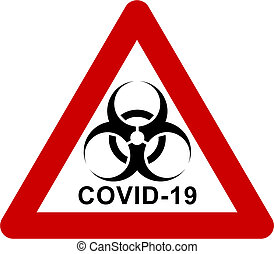 texte, signe, avertissement biohazard, covid-19