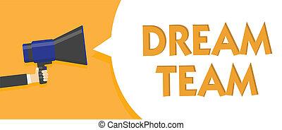 texte, signe, message, unité, dehors, haut-parleur, groupe, faire, team., parole, mieux, tenue, photo, conceptuel, porte voix, bulle, parler, loud., projection, prefered, homme, personne, rêve, ou