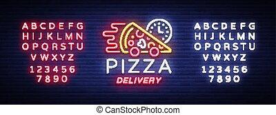 texte, signe néon, clair, logo, lumineux, style, bannière, café, pizza, nourriture, pizzerias, signe., dining., symbole, livraison, édition, illustration., lumière, vecteur, publicité, nuit