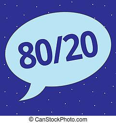 texte, signe, projection, 80, 20., conceptuel, photo, pareto, principe, de, factor, sparsity, statistique, distribution, de, données