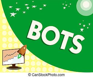 texte, signe, projection, bots., conceptuel, photo, automatisé, programme, cela, courses, sur, internet, intelligence artificielle