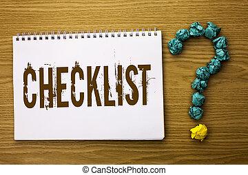 texte, signe, projection, checklist., conceptuel, photo, todolist, liste, plan, choix, rapport, réaction, données, questionnaire, écrit, sur, cahier, livre, sur, les, bois, fond, demander, for.