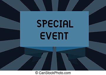 texte, signe, projection, spécial, event., conceptuel, photo, fonction, à, engendrer, argent, pour, non, profit, a, bondé, occassion