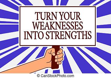 texte, signe, protestation, défauts, message, ton, bleu, rayons, arrière-plan., strengths., tenue, photo, conceptuel, les, raid, obtenir, affiche, projection, faiblesses, main, important, homme, travail, virage
