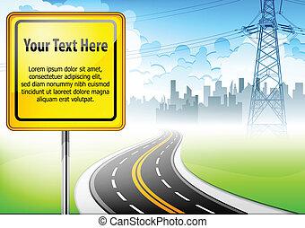 texte, signe, route, paysage, &