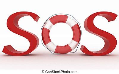 texte, sos, ceinture de sauvetage, rouges