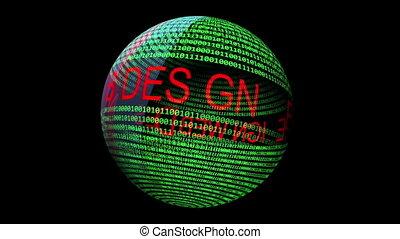 texte, sphère, toile, tourner, données, binaire, conception
