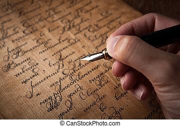 texte, stylo, fontaine, lettre, main