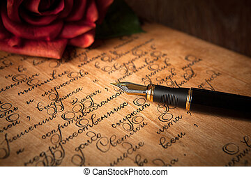 texte, stylo, fontaine, lettre, rose, table, rouges
