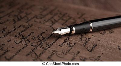 texte, stylo, fontaine, lettre, vendange