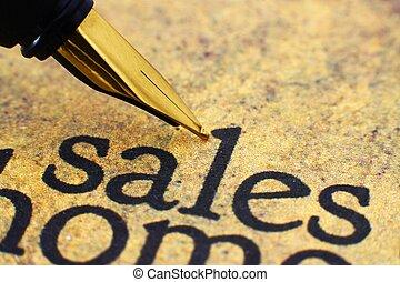 texte, stylo, fontaine, ventes