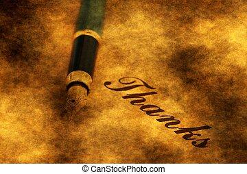 texte, stylo, vous, remercier, founain