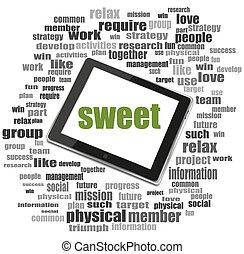 texte, sweet., social, concept, ., tablette, pc., mot, nuage, collage
