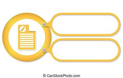 texte, symbole, flash, jaune, cadres, document, icône