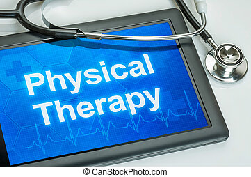 texte, thérapie, exposer, tablette, physique