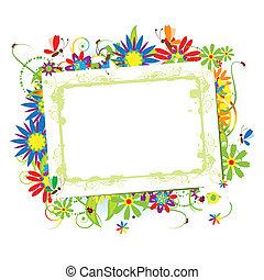 texte, ton, endroit, floral, cadre, beau