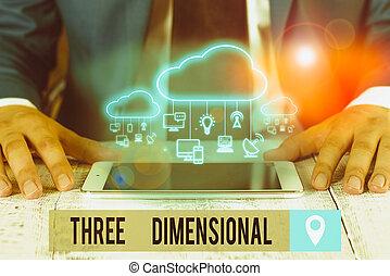 texte, tourné, écriture, trois, choses, concept, signification, boîte, être, space., dimensional., profondeur, avoir