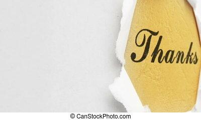 texte, trou, papier, remerciement