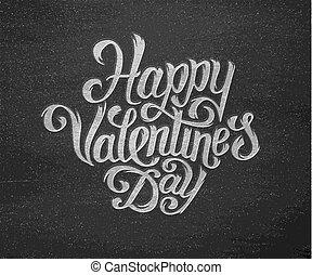 texte, valentines, typographie, salutations, jour, heureux