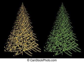 texte, vecteur, or, arbre, noël