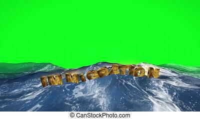 texte, vert, immigration, eau, écran, flotter