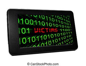 texte, victimes, pc tablette