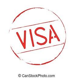 texte, visa, grunge, rouges, stamp.