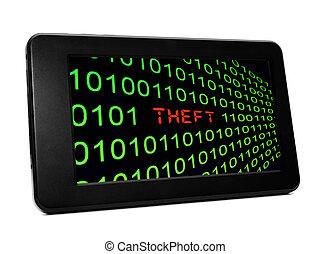 texte, vol, pc tablette