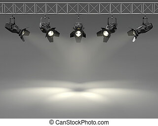 texte, wall., projecteurs, éclairé, espace