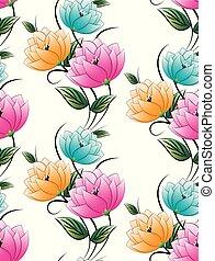 textiel, floral, seamless, achtergrond