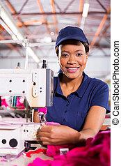 textiel, machinist, fabriek, afrikaan