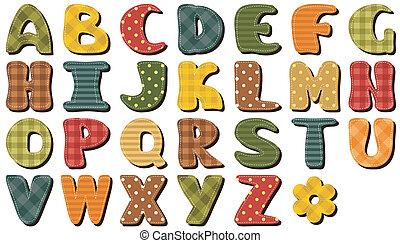 textiel, plakboek, alfabet