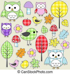 textiel, stickers