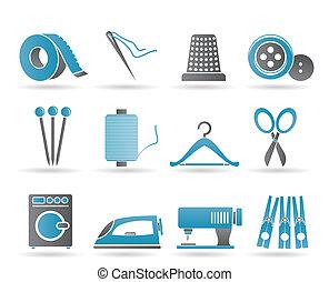 textiel, voorwerpen, en, industrie, iconen