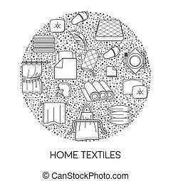 textiel, weefsel, thuis, katoen, schets, vrijstaand, ...