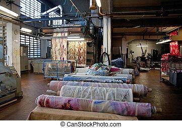 textielproduct plant, bezig met afdrukken van, industry: